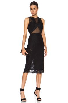 Cushnie et Ochs Lace Dress with Chiffon and Georgette Panels in Black | FWRD [1]