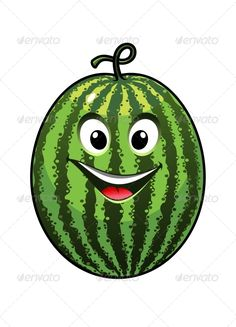 Buy Goofy Watermelon by VectorTradition on GraphicRiver. Happy cartoon vector illustration of a colourful cheerful goofy watermelon with a big smile isolated on white. Summer Crafts For Kids, Projects For Kids, Art Projects, Vegetable Cartoon, Cute Scrapbooks, Fruits Images, Happy Cartoon, Background Patterns, Easy Drawings