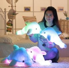 1pcs 45cm Creative Luminous Plush Glowing Dolphin Doll Luminous Pillow, Plush Toys, Hot Colorful Doll Kids Children Gifts