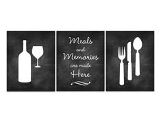 UNFRAMED PRINTS - LUSTER PHOTO PAPER Set of 3 wall art prints with modern chalkboard art design with fork, spoon and knife, wine bottle and