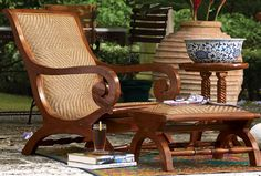 A plantation chair – most homes in India will have at least one of these. An icon of open-air relaxation its perfect if you are trying to put together a colonial decor inspired room or sunroom. West Indies Decor, West Indies Style, British West Indies, British Colonial Decor, French Colonial, Tropical Style, Tropical Decor, Chairs, Refurbished Furniture