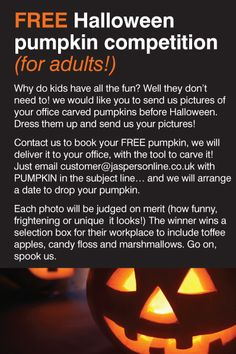 Don't forget to get your free pumpkin, carve it, take a picture and send it to us, post it on our face book, pin it on pinterest or tweet it - the best one wins a prize!  www.jaspersonline.co.uk