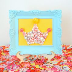 Princess Nursery Decor.  Pearl Princess Crown.  Mosaic Art. Pastel Blue Ornate Frame.  3d Picture.  Kitsch Retro Wall Hanging.  Glitter Art. by berryisland on Etsy