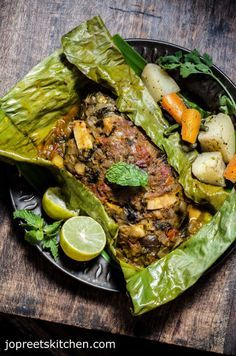 Baked Whole Fish Masala in Banana Leaf - Indian Style