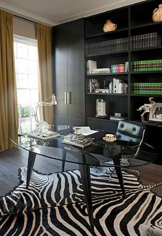 Glass desk so you can still see the rug by Kate Hume | Manor England