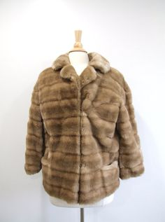 1980s Fur Coat Vintage 80s Tan Faux Fur Jacket by RedsThreadsVintage, $60.00