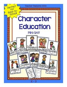 "Character Education (18 pages) 10 Anchor Charts and ""It's Great to be Me!"" 6 page booklet are perfect for the K-3 classroom! Compassion Consideration Cooperation Courage Friendship Generosity Honesty Perseverance Respect Responsibility Graphics by: Educlips and Paula Kim Studio https://www.facebook.com/TeacherFeaturesFun"