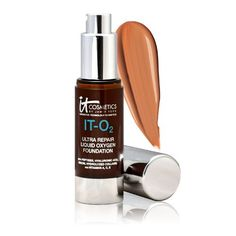 Excited to try this after my current foundation runs out. It Cosmetics Ultra Repair Liquid Oxygen Foundation It Cosmetics Foundation, No Foundation Makeup, Liquid Foundation, Liquid Oxygen, Beauty Sponge, Foundation Colors, Waterproof Makeup, Even Skin Tone, Permanent Makeup