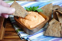 Spicy Roasted Red Pepper Hummus with Whole Wheat Basil Pita Toasts