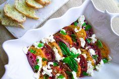 Heirloom tomato caprese with garlic crostini #DitchtheRecipe