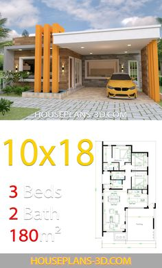 House Design with 3 Bedrooms terrace roof - House Plans Modern House Floor Plans, Modern House Facades, Modern Bungalow House, Bungalow House Plans, House Layout Plans, Family House Plans, Small House Plans, House Layouts, Simple House Design