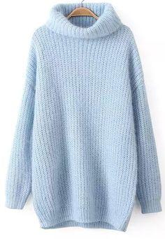 Blue High Neck Long Sleeve Knit Sweater - abaday.com
