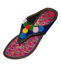 43fb6e1ac655 NEW US SIZE 6 WOMENS FLAT SLIPPERS INDIAN DOUBLE EMBROIDERY COLORFUL SANDAL   fashion  clothing