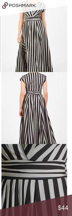 """Eshakti Bold Stripe Dress Beautiful tan and black striped dress in excellent condition. This dress has pockets and is 51"""" long. eshakti Dresses"""