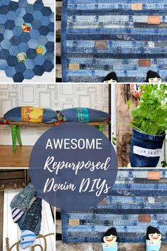 Repurpose your old jeans into something fabulous for home.  There are so many ideas here, from pillows to planters and even some unique storage solutions all using denim.  #denim #upcycling #pillow