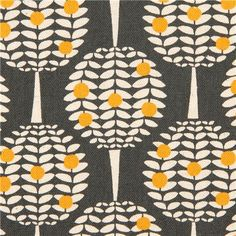 grey canvas citrus tree fabric Kokka Japan