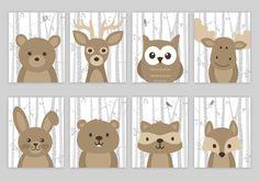 Woodland Nursery Art, Woodland Nursery Decor, Forest Animal Art, Birch Tree, Forest Animals, Fox Moose Raccoon Beaver Bear, Deer, Rabbit by SweetPeaNurseryArt on Etsy