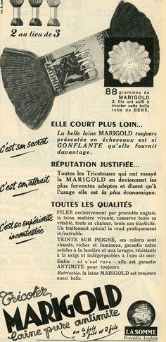 Modes et travaux n° 611 - novembre 1951 - publicité pour les laines Marigold, aujourd'hui disparues.