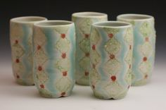 Handmade Tumblers Set of Five Fabulous Fifties by TracyMcEvilly, $100.00