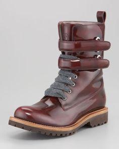 Brunello Cucinelli Shiny Leather Hiking Boot - Neiman Marcus    these make me so happy :) portland portland portland