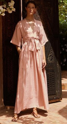 Three Graces London Ferrers dress in vintage pink