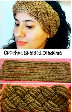 crochet braids Are you up for a quick, fun and free crochet project to make? Then get ready to start crocheting this adorable braided diadema right now. It is designed exquisitely and d Bandeau Crochet, Crochet Headband Pattern, Crochet Braids, Crochet Headbands, Crochet Ear Warmer Pattern, Braid Patterns, Crochet Patterns, Crochet Ideas, Knitting Patterns