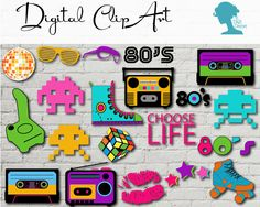 Digital Scrapbooking Clip Art: 1980's Retro Icons Buy 2 Get 1 FREE $5.00AUD by The Digi Dame, Graphic Designer on Etsy digidame.etsy.com