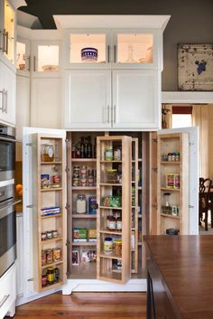 Stand Alone Pantry Cabinets Farmhouse Style for Kitchen with Pivot Shelf by the Aldrich Group, LLC in Atlanta - : Kitchen Design Ideas Kitchen Storage Solutions, Diy Kitchen Storage, Kitchen Drawers, Kitchen Organization, Kitchen Decor, Kitchen Cabinets, Kitchen Ideas, Shaker Cabinets, White Cabinets