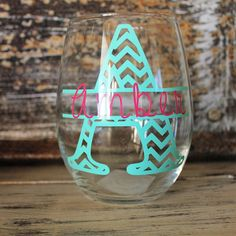 Chevron Personalized Wine Glass
