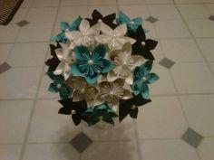 My DIY Paper flower bridesmaids bouquets :  wedding paper flowers black white teal bridesmaids flowers Wedding Flowers