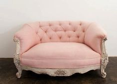 JORDANA BLUSH SETTEE  BLUSH TUFTED SETTEE WITH CREAM DISTRESSED ORNATE FRAME    DIMENSIONS: 32 X 59 X 32  QUANTITY: 1  {ID}  PINK LOVESEAT LOUNGE FURNITURE BLUSH UPHOLSTERY BUTTON-TUFTED SETTEE CREAM