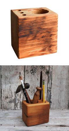 Raise your hand if you find wood to be more palatable than plastic. Modern accessories are fine for contemporary settings, but if you treasure the look of retro motifs, you'll love the Reclaimed Wood D...  Find the Reclaimed Wood Desk Caddy, as seen in the The Vintage Express Collection at http://dotandbo.com/collections/the-vintage-express?utm_source=pinterest&utm_medium=organic&db_sku=PGA0001