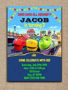 CHUGGINGTON Printable INVITATION DIY Text Editable PDF File #SweetieCakeToppers #AnyOccasion