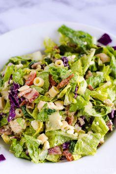 Cabbage Salad Recipes, Side Salad Recipes, Chopped Salad Recipes, Pasta Salad Recipes, Chopped Salads, Italian Chopped Salad, Italian Salad, Recipes With Ditalini Pasta, Romaine Salad