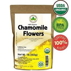 Chamomile Tea 100 CERTIFIED Organic USDA seal Chamomile Flowers Herbal Tea Matricaria chamomilla in 1 lb Bulk Kraft BPA free Resealable Bags from US Wellness ** You can get more details by clicking on the image. Calendula Tea, Chamomile Tea, Nettle Leaf Tea, Bulk Tea, Lemon Balm Tea, Fennel Tea, Hibiscus Tea, Hibiscus Flowers, Types Of Tea