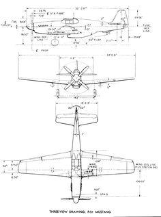 Afbeeldingsresultaat voor bouwtekeningen met maten van Mustang P51