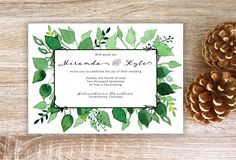 A beautiful leafy, hand-painted wedding invitation!  by inkandelement on Etsy https://www.etsy.com/listing/498526603/wedding-invitation-leaf-wedding  #Weddinginvitation #Leafwedding #watercolor #greeninvitation #rusticweddinginvitation #wedding #invitation #leaves