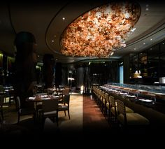 Luxury restaurant - la luxury homes Nobu Restaurant, Luxury Restaurant, Restaurant Interior Design, Commercial Kitchen, Commercial Design, Small Fireplace, Lighting Concepts, Cafe Bar, A Table