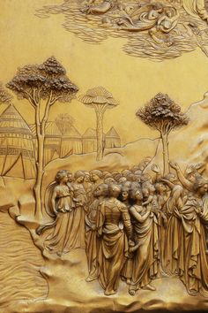 Close up of Ghiberti's Doors of Paradise - Florence Italy Michelangelo Pieta, Lorenzo Ghiberti, Ancient Greek City, High Renaissance, Renaissance Paintings, Italian Artist, Gravure, Art And Architecture, Art History