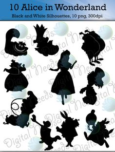 10 Alice in Wonderland Silhouettes / png and by DigitalNeeds