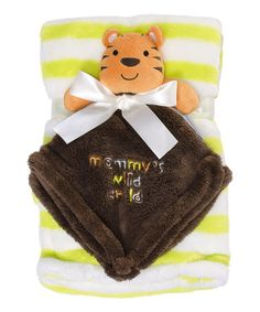 This Yellow Stripe Stroller Blanket & Tiger Security Blanket is perfect! #zulilyfinds