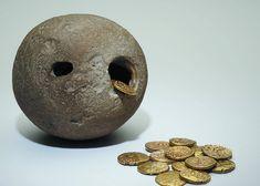 A Celtic 'Piggy Bank' :)  Hoard of Celtic gold coins found inside a hollow flint at Westerham (Kent), England  (1 c. BC)