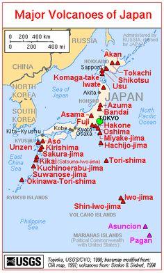 CVO Website - Major Volcanoes in Japan - Map