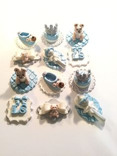 Baby Bears Baby Shower Fondant Cupcake, Cake or Cookie Toppers. Set includes 12 (one dozen) Any colors you'd like!