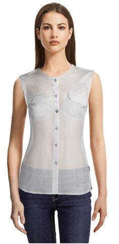 Blouse made to fit your unique measurements! Made to measure women clothes at Sumissura White Sleeveless Blouse, Blue Blouse, Suits For Women, Blouses For Women, Blouse Online, Tunic Tops, Shirt Dress, Female, Casual