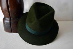 Dark Green Fedora - Pure Fur Felt  Handblocked Fedora Hat - Men Women