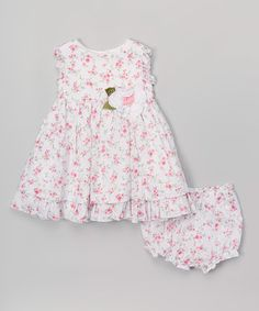 This Laura Ashley London Pink & White Floral Dress & Bloomers - Infant by Laura Ashley London is perfect! #zulilyfinds