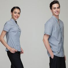 hotel restaurant uniforms on sale at reasonable prices, buy Fashion Restaurant Hotel Uniform Women Female Waitress Blouse Men Male Waiter Shirt Short Sleeve Hidden Placket Solid Color from mobile site on Aliexpress Now! Hotel Uniform, Restaurant Uniforms, Chef Jackets, Men Casual, Female, Blouse, Mens Tops, Color, Shopping