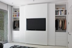 Flush Closing Sliding Wardrobe   How Are The Wires To The TV Not Interfered  With