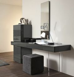 Luxury schminktisch mit spiegel an der wand schwarze farbe polster sessel
